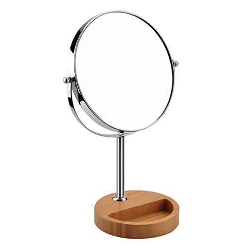 XIGG Schminkspiegel Stehend Rasierspiegel Normal+ 3 Fach 8 inch, Kosmetikspiegel 360° Drehbar, Schminkspiegel Bambus, Make Up Spiegel rund, Zweiseitig