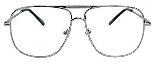 amashades Vintage Nerdies Nerdige Pilotenbrille Streber Brille für Damen o Herren oversized rechteckig 80er Jahre Brillengestell Klarglas SQA (Modell 2 / Silber)