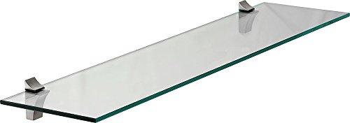 IB-Style - Étagère murale en verre + ECO Clip | clair et satiné | 9 dimensions | epaisseur 8 mm | 600x300x8 mm clair - Supports metal inclus Rangement Tablette