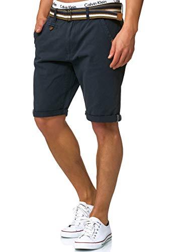INDICODE Herren Cuba Shorts Bermuda kurze Hose inkl. Gürtel Blau Navy M (Gebrauchte Bike Pocket)