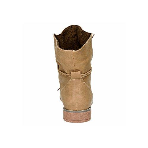 Damen Stiefeletten Stiefel Blockabsatz Schnür Biker Boots Freizeit Schuhe Khaki/leichtgefüttert