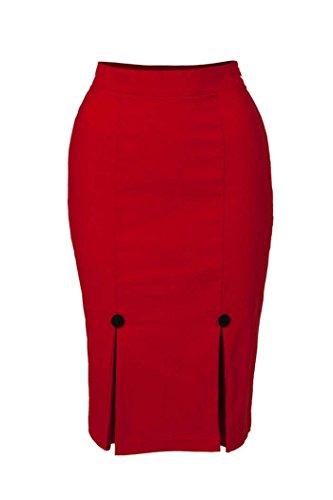 Voodoo Vixen PIN UP Basic PENCIL SKIRT Retro Bleistiftrock Rot