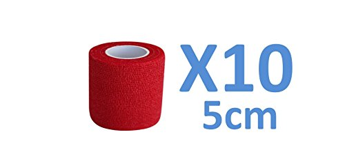 PintoMed - Dehnbare Kohäsive Bandage Fixierband - Rot - 5cm x 4,5m - Insesamt 10 Stuck, 5 cm breit, 4,5m Dehnbare, elastische kohasive selbsthaftende Sport fixierbinde