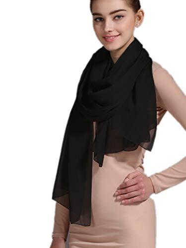Prettystern 180 cm lunga stola sciarpa foulard tinta unita leggera pura seta crepe georgette - nero