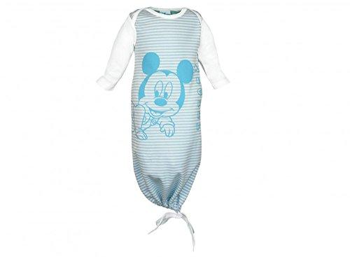 Disney - Mickey Mouse Baby- Sommer-Schlafsack lang-arm aus Bio-Baumwolle, UNGEFÜTTERT, in Zwei Längen erhältlich, unten zuziehbar mit viel Bein-Freiheit Bein-Freiheit, Pucksack Farbe Blau, Größe 2
