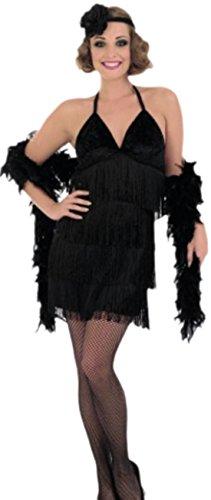 Faschingsfete Damen Abendkleid 20er Jahre Mottoparty Kostüm, XL, Schwarz