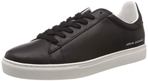 Armani Exchange Herren SNK Calf Leather Sneaker, Schwarz (Black 00002), 43 EU