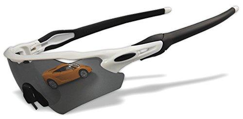 Gelbe polarisierte Gläser: sicheres Fahren, 4 Stück Wechselgläser.Original Sportsonnenbrille 99% UV-Schnitt (RE 6 Farbe), RE12(Polished White)