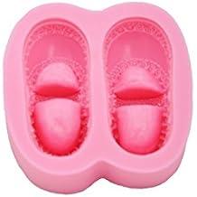 DeColorDulce Zapatos de Bebe Molde 3D, Silicona, Rosa, 16x10x3 cm
