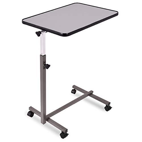 COSTWAY Laptoptisch höhenverstellbar, Pflegetisch Notebooktisch Betttisch Sofatisch Rolltisch, neigbare Tischplatte mit Rollen (Grau) -