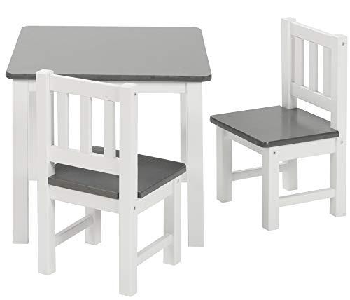 ♥ BOMI Holzsitzgruppe für Kinder Amy aus Kiefer Massiv Holz | bis 180 KG belastbar | für Kleinkinder, Mädchen und Jungen Grau Weiß