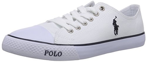 Polo Ralph Lauren Unisex-Kinder Carson Low-Top Weiß (White Canvas/Navy), 35 EU (Polo-schuhe Für Kinder)