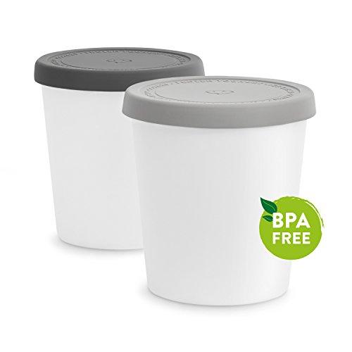 emma eismaschine 2er-Set Eisbehälter 1L | Aufbewahrungsbehälter für Speiseeis | Gefrierdosen | Eis-Container BPA-frei in Lebensmittelqualität | Eis-Zylinder
