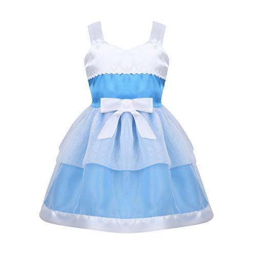 Agoky Baby Mädchen Prinzessin Kleid für Kinder Halloween Weinachten Kostüm Urlaub Party Stufen Rock Tutu Kleid Festzug Verkleidung gr. 80-110 Himmel Blau 104-110/4-5Jahre