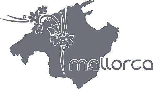 GRAZDesign Wandtattoo Umriss Karte - Wandaufkleber Klebefolie Mallorca - Dekoration Wohnung Landkarte Insel Spanien / 86x50cm / 071 grau