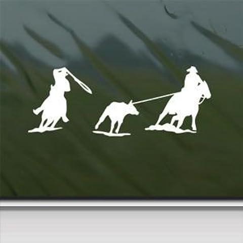 Equipo cuerda Roper caballo blanco adhesivo coche ventana de pared MacBook portátil adhesivo