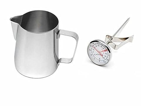Kabalo Acier inoxydable Milk, Coffee, Cappuccino, Latte, Frothing 600ml Jug avec thermomètre