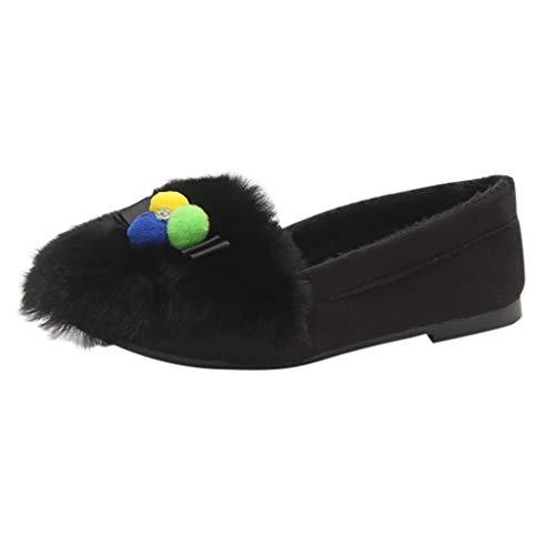 B-commerce Damen Herbst Flachen Boden Einzelne Schuhe Weiblichen Bogen Haarball Bequeme Faule Schuhe Freizeitschuhe