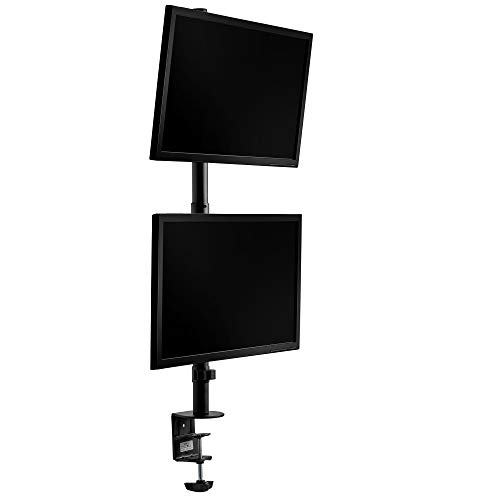 VonHaus Verticale Doppio Monitor Mount – Stacked/Twin Screen Mount/Morsetto/Staffa con inclinazione, Girevole e Rotante per Tavolo/scrivania/Tavolo/Workstation
