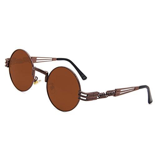 AMZTM Retro Steampunk Verspiegelt Sonnenbrille Klassischer Kreis Hippie Brille für Damen Herren Polarisierte Linse Runder Metallrahmen UV400 Schutz Alte Mode Brille (Dunkelbraun Rahmen Dunkelbraun, 49)