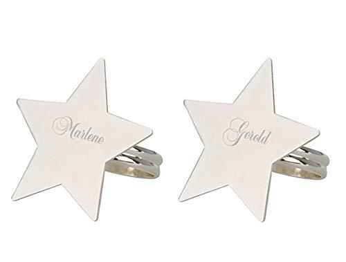Serviettenring Stern versilbert 2ér Set mit Ihrer Gravur, persönlich graviert, für die weihnachtlich gedeckte Festtafel
