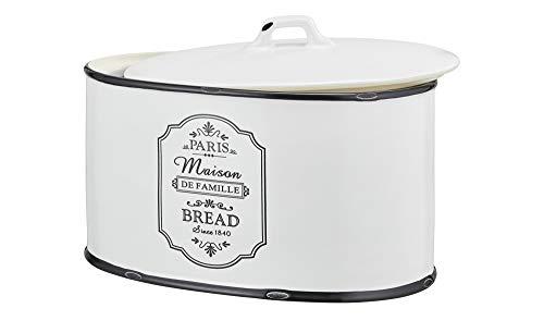 Brotkasten Keramik Weiß Schwarz Oval Brot Deckel Brotbox Brotkiste Küchenbox
