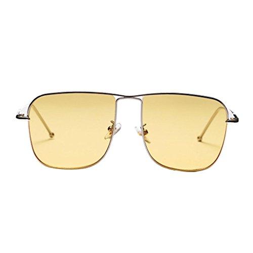 Baoblaze Herren Damen Klassik Polarisierte Sonnenbrille Metallrahmen Brille Gläser Sportbrille UV400 Schutz Fahren - Gelb