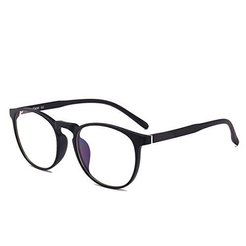 Kamiwwso Anti-Blue Sonnenbrille, rund, Nicht verschreibungspflichtige Brille, für Männer und Frauen Matte Black
