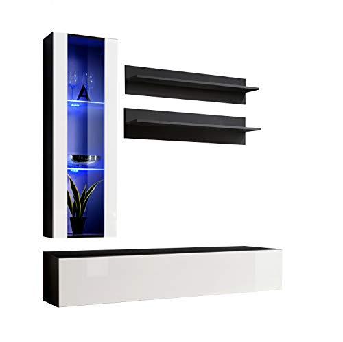 Muebles bonitos mobile soggiorno - parete da soggiorno moderno sospeso modello nora h2 nero bianco con led - larghezza totale: 160cm x altezza minima: 190cm x profondità maxima: 40 cm