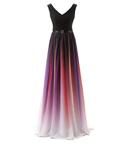 XFGQ Buntes Abendkleid Schultergurte Bankett Host Kleines Kleid Langer Rock Langes Kleid Bankette Abendkleid in Chiffon,A,US4#