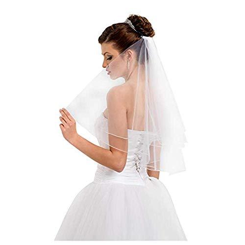 TXIN Hochzeit Brautschleier Mit Kamm Schleier Einfach Tüll Mit Satinband Kante 31Zoll / 80cm