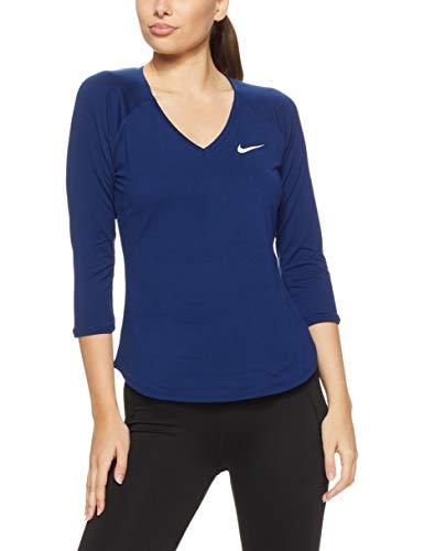 Nike Damen Pure 3/4 Sleeve Shirt, Blue Void/(White), S -