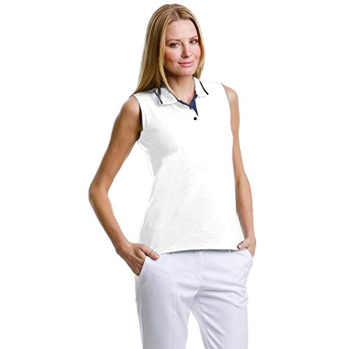 Gamergear® Damen Poloshirt, ärmellos (38) (Weiß/Marineblau)