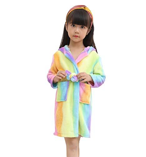 X-Labor Kinder Baby Flanell Bademantel mit Kapuze Tier Kostüm Badetuch Kapuzenhandtuch Schlafanzug Nachtwäsche für Mädchen Jungen Bunt Einhorn 110