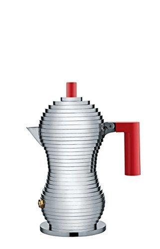 Alessi MDL02/R 1 Handle/Knob Espresso Coffee Maker Cast, Aluminium Design Red by Alessi - Alessi Espresso Coffee Maker