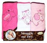 Idea Regalo - Frenchie Mini Couture - Set di asciugamani bimba con cappuccio, motivo animali, 3 pezzi