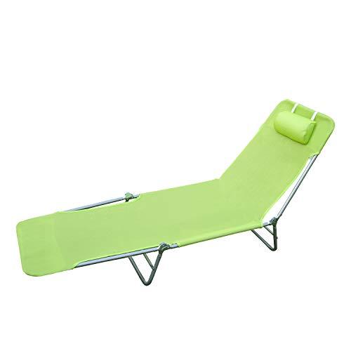 Tumbona Reclinable y Plegable con Almohada para Playa Piscina Terraza y Camping - Color Verde - Acero - 182x56x24,5 cm