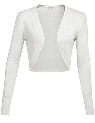 MUXXN Damen Strickjacken Achselzucken für Retro Kleider Langarm Kurz Jäckchen(XL, White)