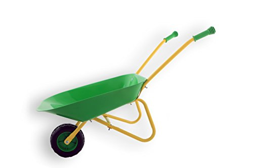 Fun Play Kinder Schubkarre Gartenspielzeug & Sandspielzeug Robustes Metall Blech Stabile Griffe Gummi ummantelt (Grün)