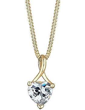 Elli Premium Damen Kette mit Anhänger Herz Infinity 585 Gelbgold Zirkonia weiß Herzschliff 45 cm 0108310916_45