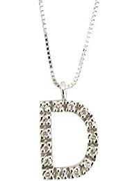 Collar con colgante colgante letra D en oro blanco 18K y diamantes 0,08ct