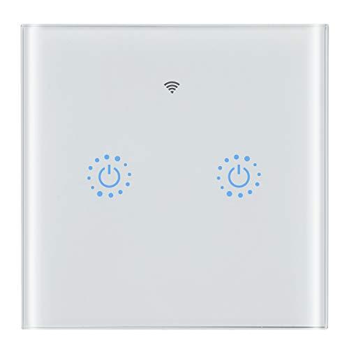 Snowsound WiFi Smart Switch Digitaler In-Wall-Lichtschalter Wireless Intelligence Glas-Touchpanel mit Sprachsteuerung, Timing-Funktion, Fernbedienung, kompatibel mit Alexa und Google Home-2 Gang,Weiß Wireless Glas