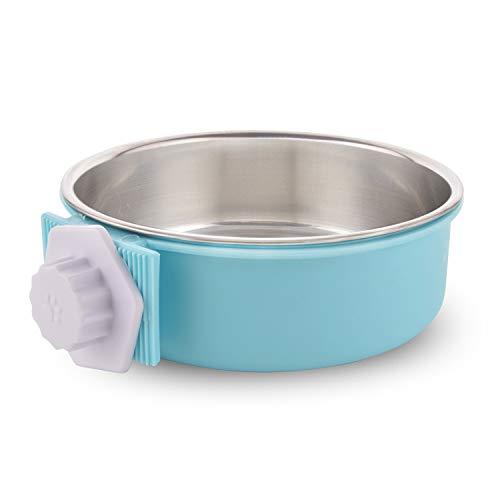 MOACC Futternapf für Käfige Pet Hanging Abnehmbare Käfig Edelstahl Lebensmittel Wasser Blau Schalen für Hunde Katzen Kleine Tiere -