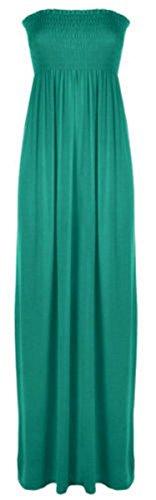 Neuf Pour Femmes Sans Manches Bandeau Bandeau Maxi femmes Fin Long robe RU 8-26 Turquoise - Bleu-vert