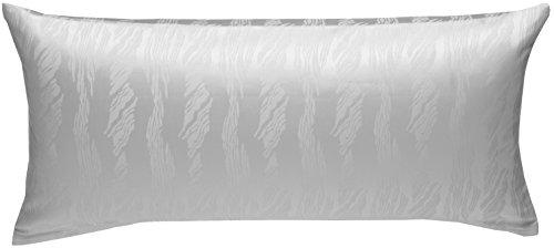 Damast Kissenbezug (Bettwaesche-mit-Stil Mako Satin Damast Kissenbezug Waves weiß (40 cm x 80 cm))