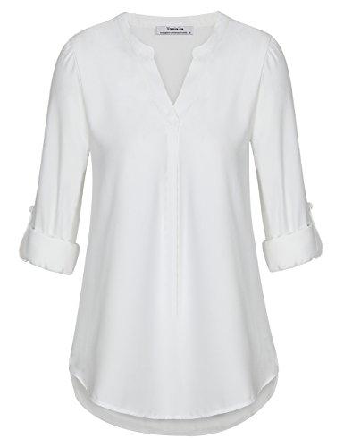 Youtalia Oberteile and Blusen für Frauen, Damen Freizeit Chiffon V-Ausschnitt Manschetten-Ärmel Locker Shirt Bluse Oberteile(Weiß,XX-Large) (Weiße Tunika)