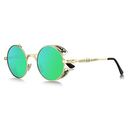 WHCREAT Retro Rund Steampunk Polarisierte Sonnenbrille Geprägtes Muster Brillen Für Herren Damen (Gold Rahmen - Verspiegelt Grün Silber Linse)