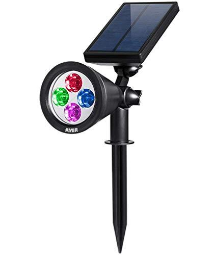 [Farbe ändern] OOFAY LIGHT Gartenleuchten, 200 Lummen Solar Lichter, Auto-on/off Flag Pole Lichter, Wasserdichte Outdoor Spot Licht für Garten, Pool, Baum, etc Bunte Wandleuchte -
