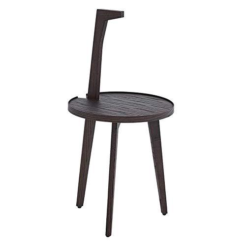 LXJJDGF Massivholz Beistelltisch, Einfache Moderne Stativ Persönlichkeit Griff Kleiner Couchtisch - Grau + Schwarz Braun -