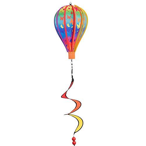 CIM Windspiel - Micro Heißluftballon BUTTERFLY - wetterbeständig - Ballon: Ø17cm x 28cm, Korb: 4cm x 3.5cm, Spirale: Ø10cm x 35cm - inklusive Aufhängung